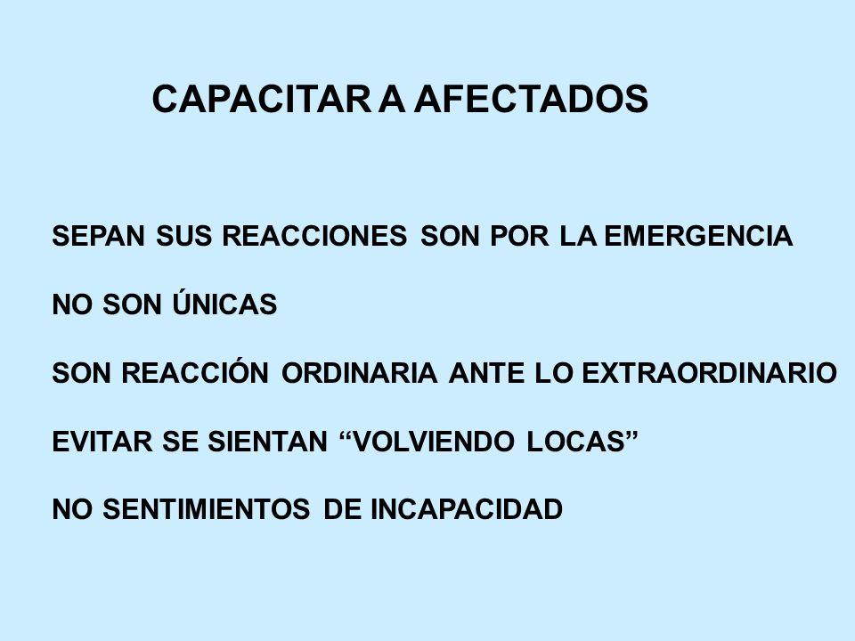 CAPACITAR A AFECTADOS SEPAN SUS REACCIONES SON POR LA EMERGENCIA