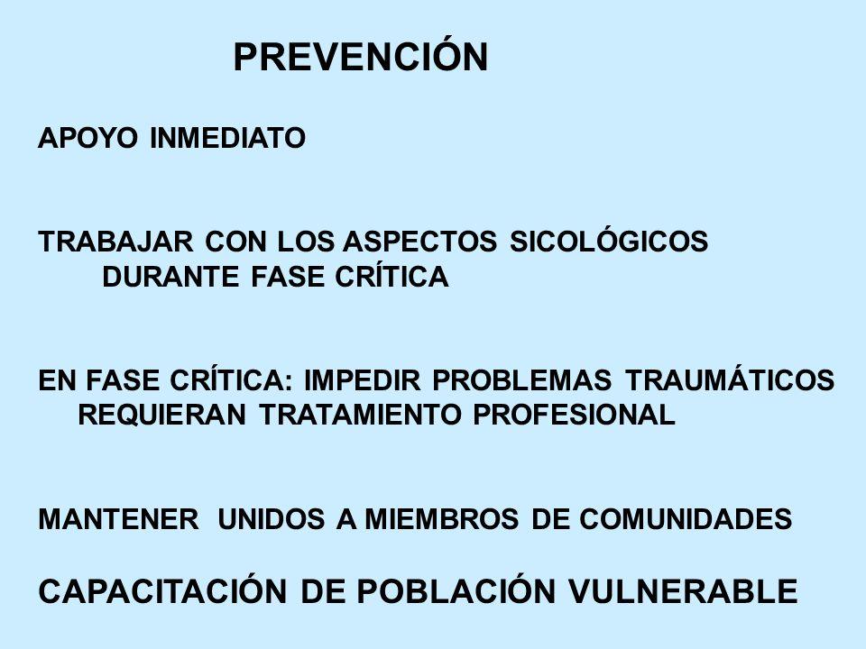 PREVENCIÓN CAPACITACIÓN DE POBLACIÓN VULNERABLE APOYO INMEDIATO