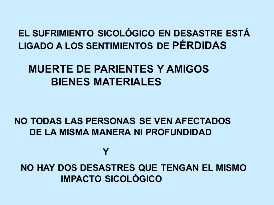 BIENES MATERIALES EL SUFRIMIENTO SICOLÓGICO EN DESASTRE ESTÁ