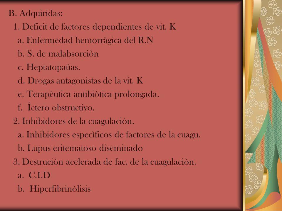 B. Adquiridas: 1. Deficit de factores dependientes de vit. K. a. Enfermedad hemorràgica del R.N. b. S. de malabsorciòn.
