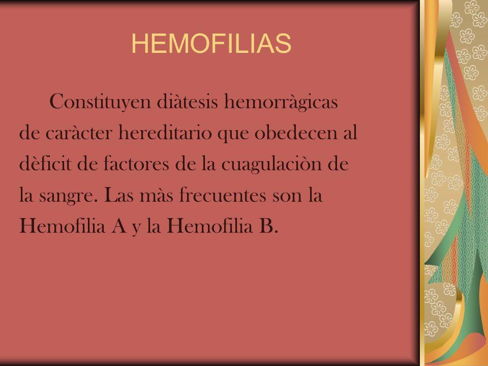 HEMOFILIAS Constituyen diàtesis hemorràgicas