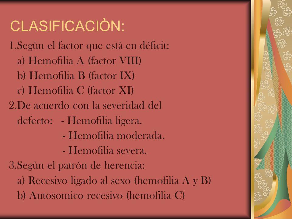 CLASIFICACIÒN: 1.Segùn el factor que està en déficit:
