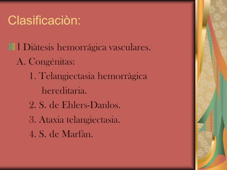 Clasificaciòn: I Diàtesis hemorrágica vasculares. A. Congénitas: