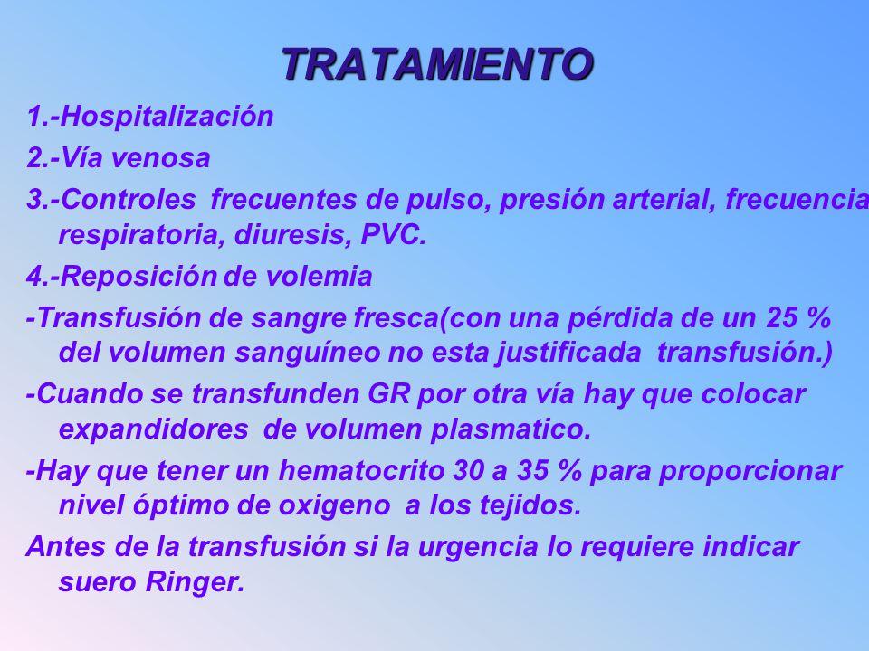 TRATAMIENTO 1.-Hospitalización 2.-Vía venosa