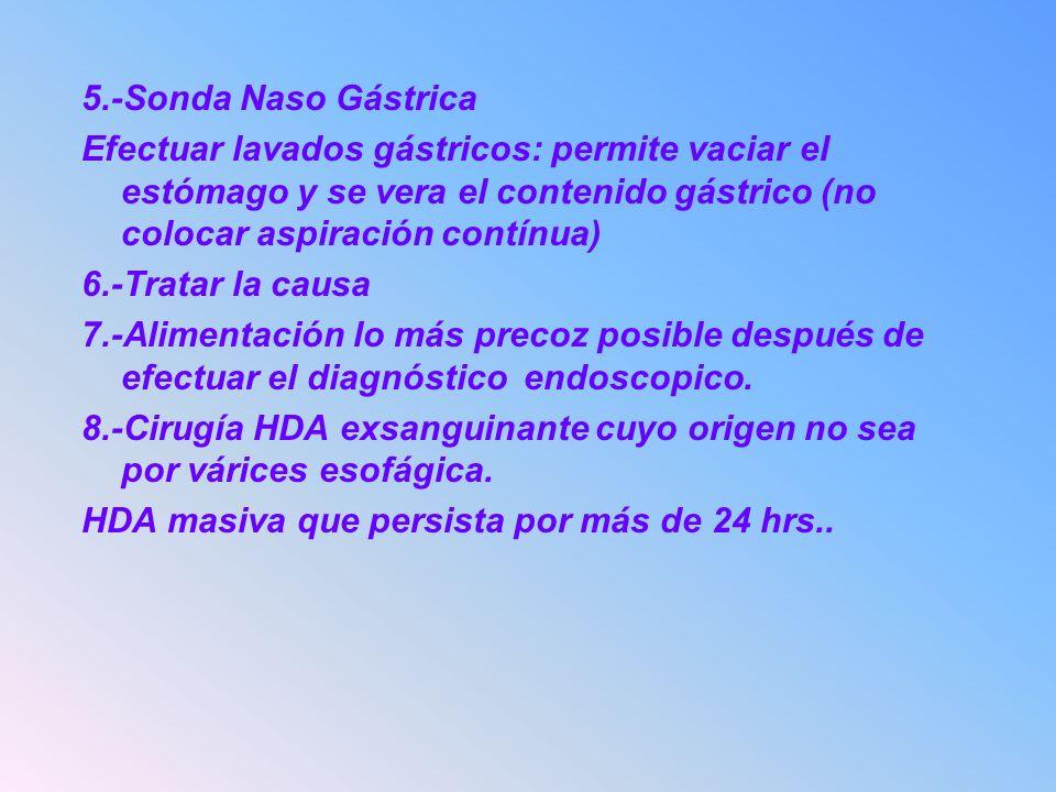 5.-Sonda Naso Gástrica Efectuar lavados gástricos: permite vaciar el estómago y se vera el contenido gástrico (no colocar aspiración contínua)