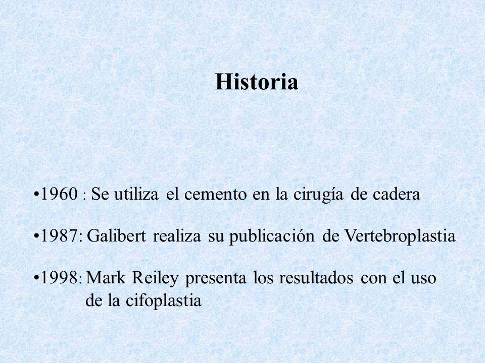 Historia 1960 : Se utiliza el cemento en la cirugía de cadera