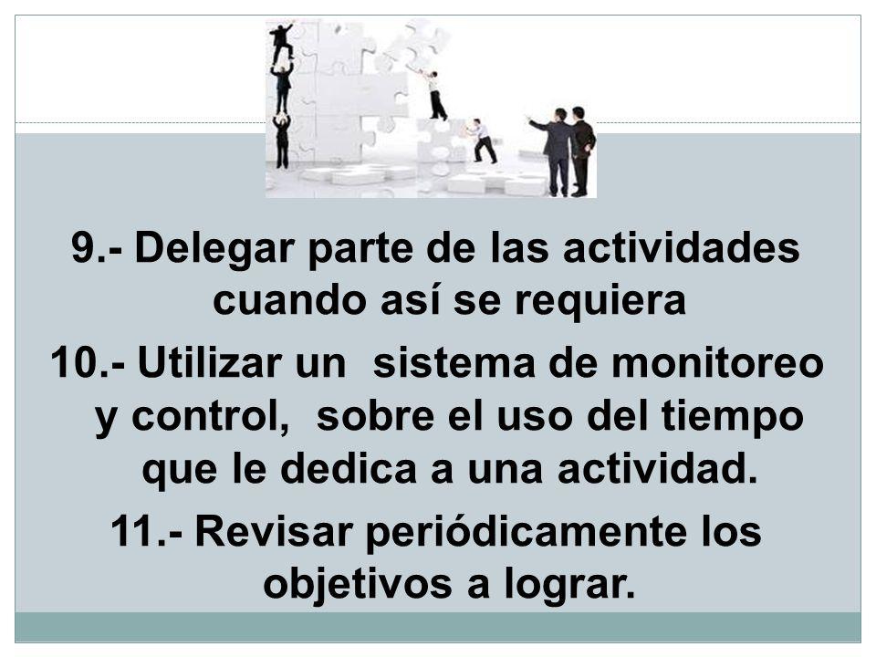 9. - Delegar parte de las actividades cuando así se requiera 10