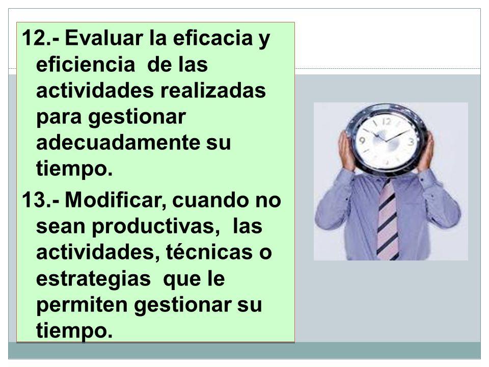 12.- Evaluar la eficacia y eficiencia de las actividades realizadas para gestionar adecuadamente su tiempo.