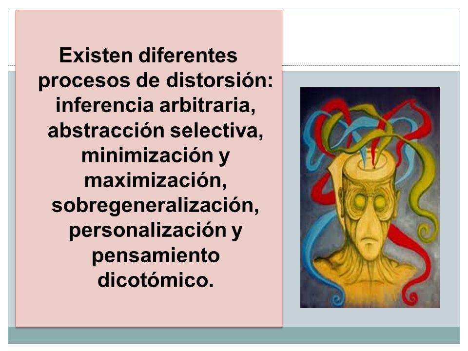 Existen diferentes procesos de distorsión: inferencia arbitraria, abstracción selectiva, minimización y maximización, sobregeneralización, personalización y pensamiento dicotómico.