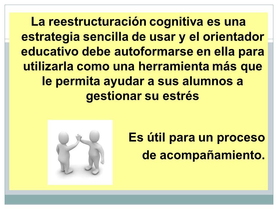 La reestructuración cognitiva es una estrategia sencilla de usar y el orientador educativo debe autoformarse en ella para utilizarla como una herramienta más que le permita ayudar a sus alumnos a gestionar su estrés Es útil para un proceso de acompañamiento.