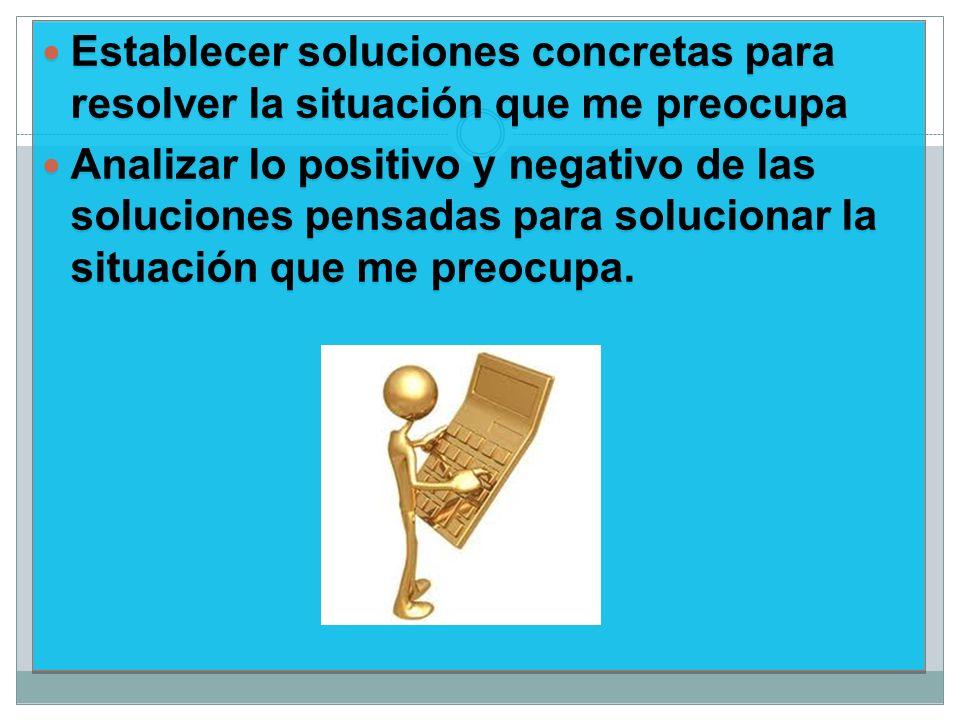 Establecer soluciones concretas para resolver la situación que me preocupa