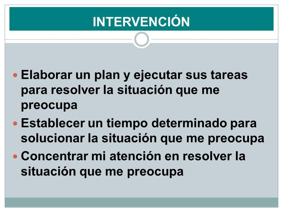 INTERVENCIÓN Elaborar un plan y ejecutar sus tareas para resolver la situación que me preocupa.