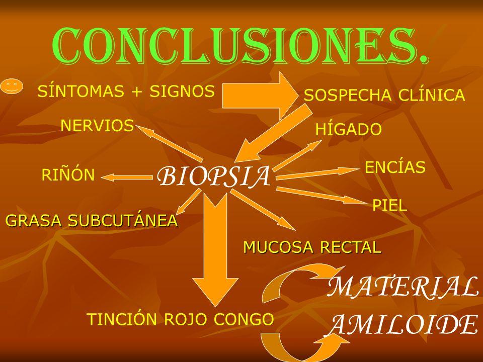 CONCLUSIONES. BIOPSIA MATERIAL AMILOIDE SÍNTOMAS + SIGNOS