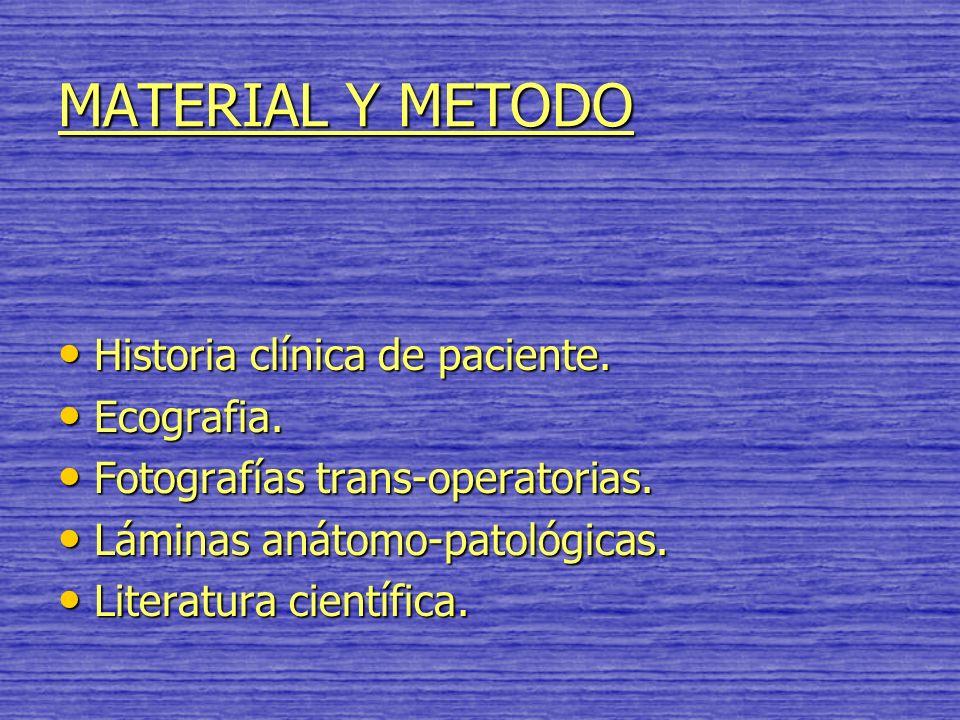 MATERIAL Y METODO Historia clínica de paciente. Ecografia.