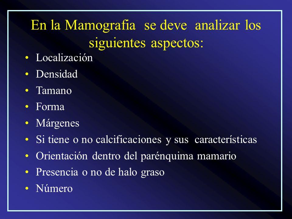 En la Mamografia se deve analizar los siguientes aspectos: