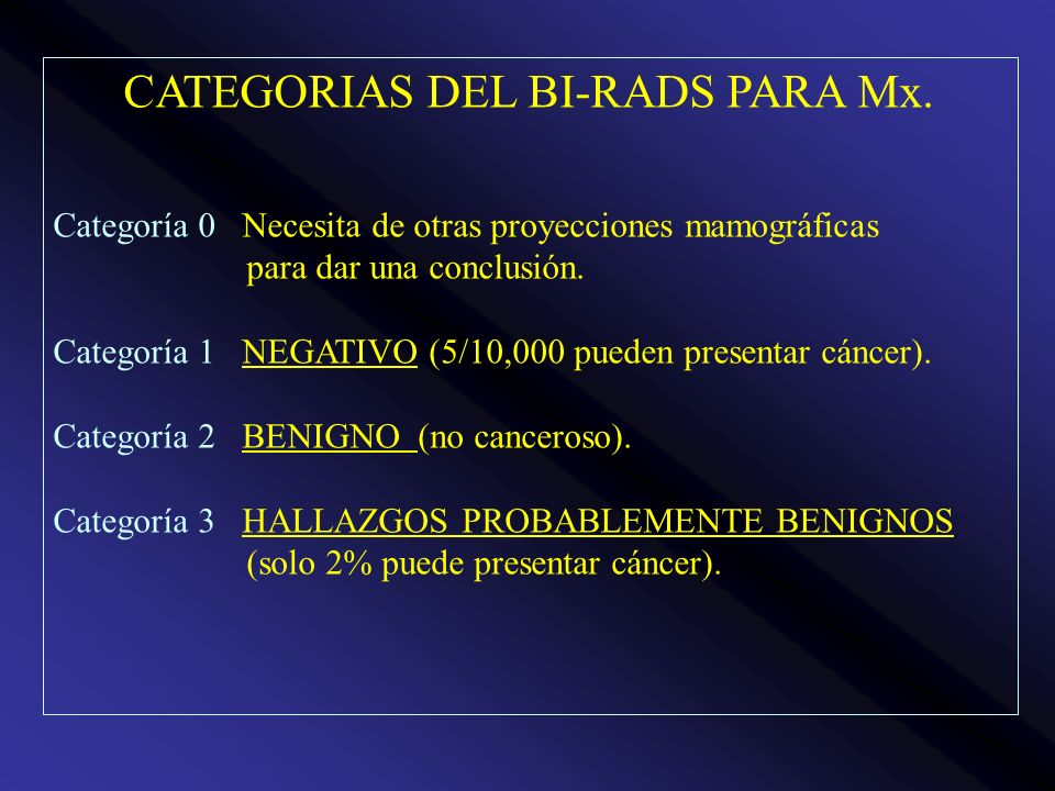 CATEGORIAS DEL BI-RADS PARA Mx.