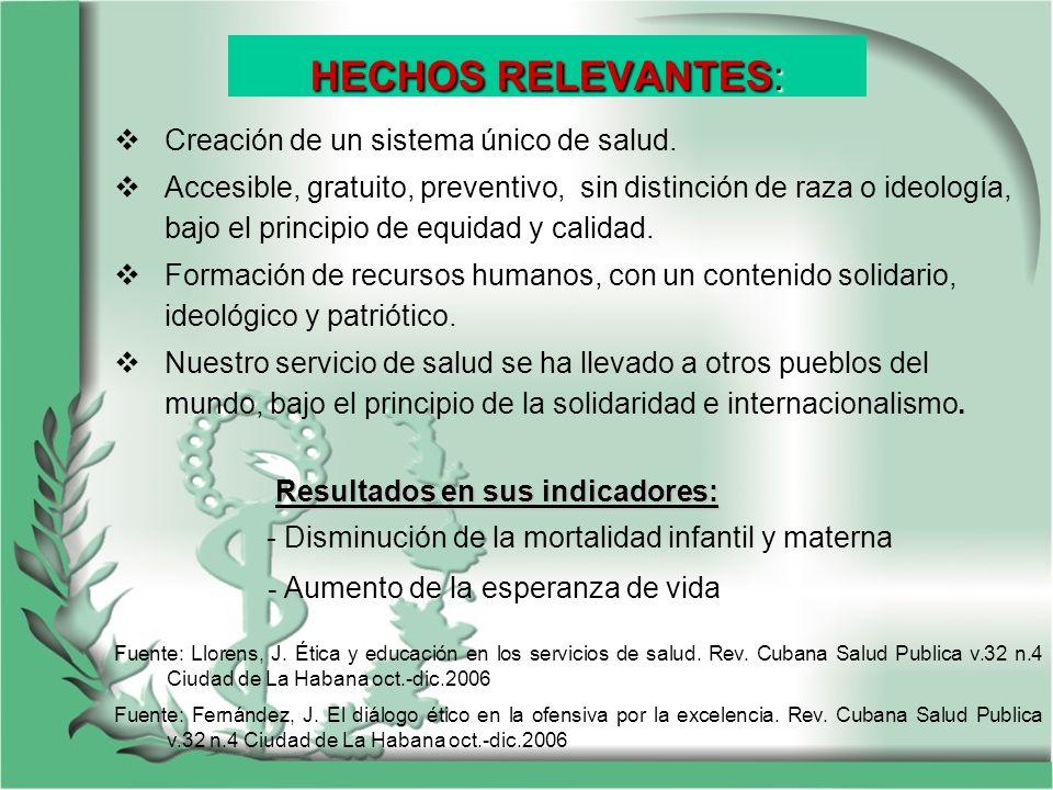 HECHOS RELEVANTES: Creación de un sistema único de salud.