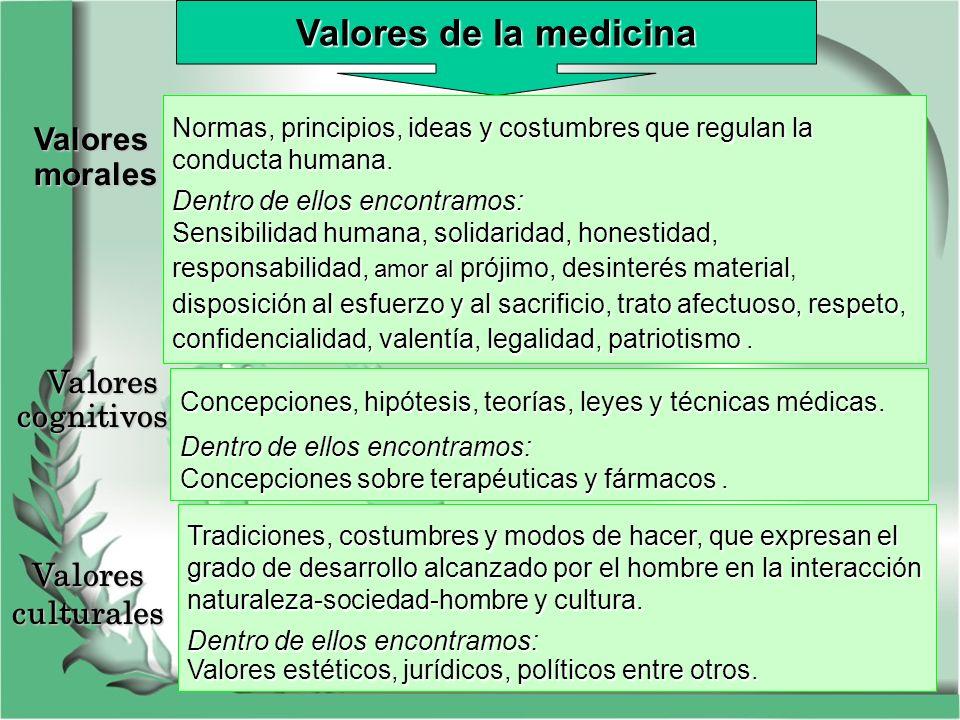 Valores de la medicina Valores morales Valores cognitivos