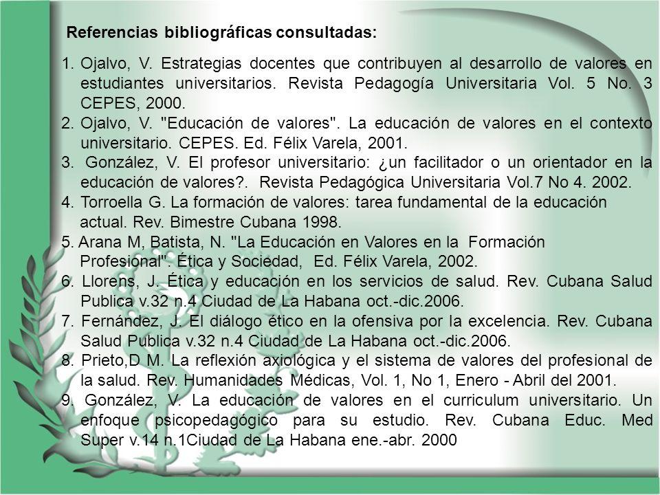 Referencias bibliográficas consultadas: