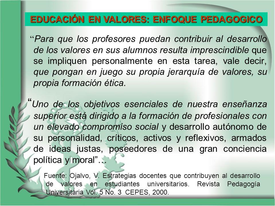 EDUCACIÓN EN VALORES: ENFOQUE PEDAGOGICO