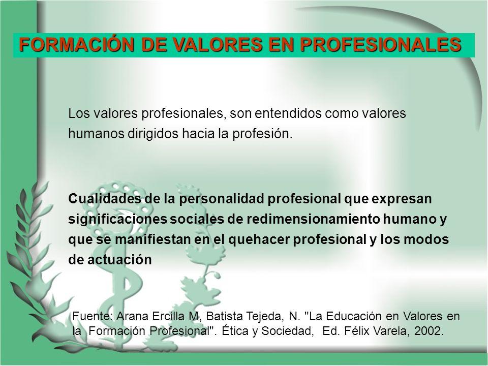 FORMACIÓN DE VALORES EN PROFESIONALES