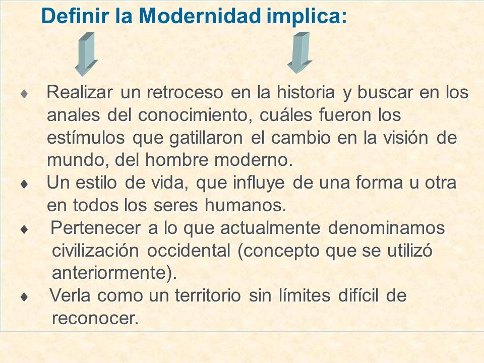 Definir la Modernidad implica: