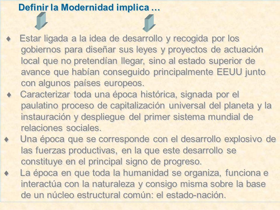 Definir la Modernidad implica …