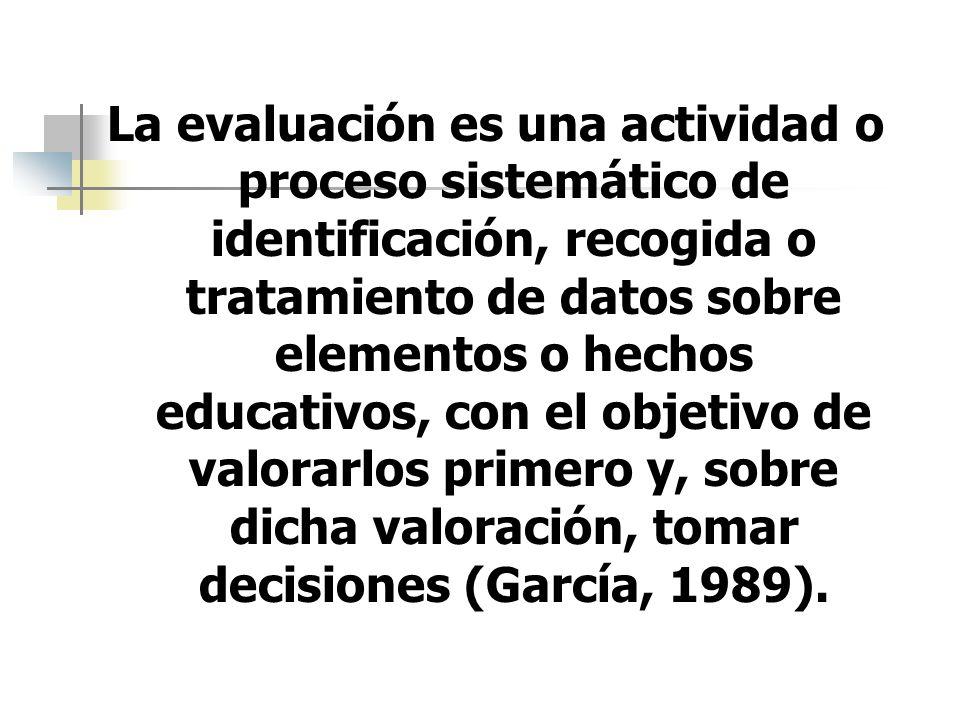 La evaluación es una actividad o proceso sistemático de identificación, recogida o tratamiento de datos sobre elementos o hechos educativos, con el objetivo de valorarlos primero y, sobre dicha valoración, tomar decisiones (García, 1989).