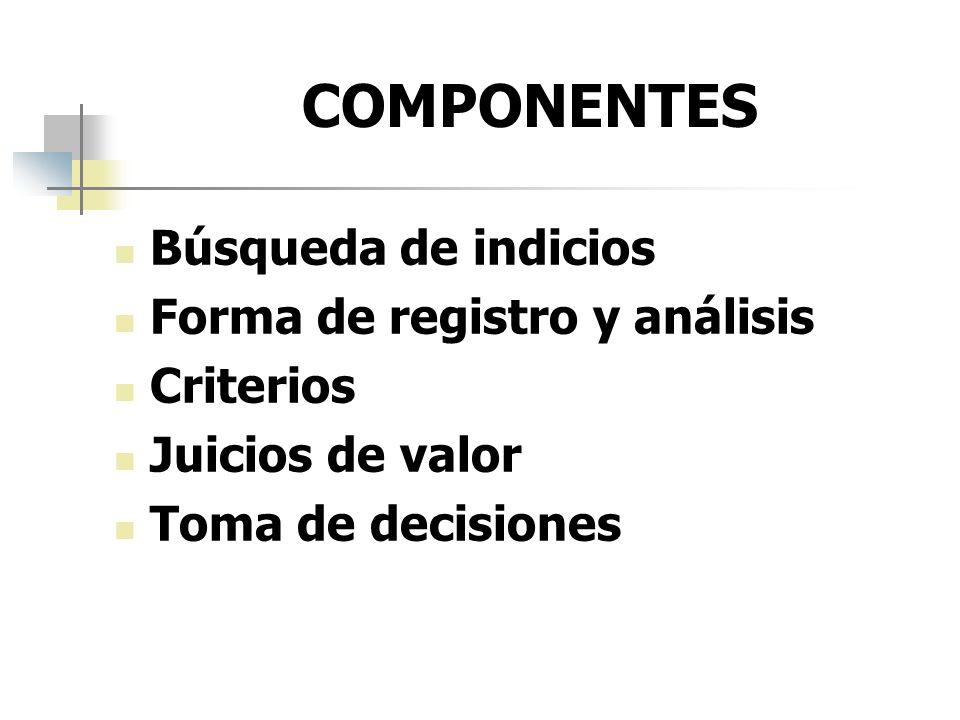 COMPONENTES Búsqueda de indicios Forma de registro y análisis