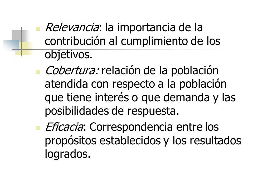 Relevancia: la importancia de la contribución al cumplimiento de los objetivos.