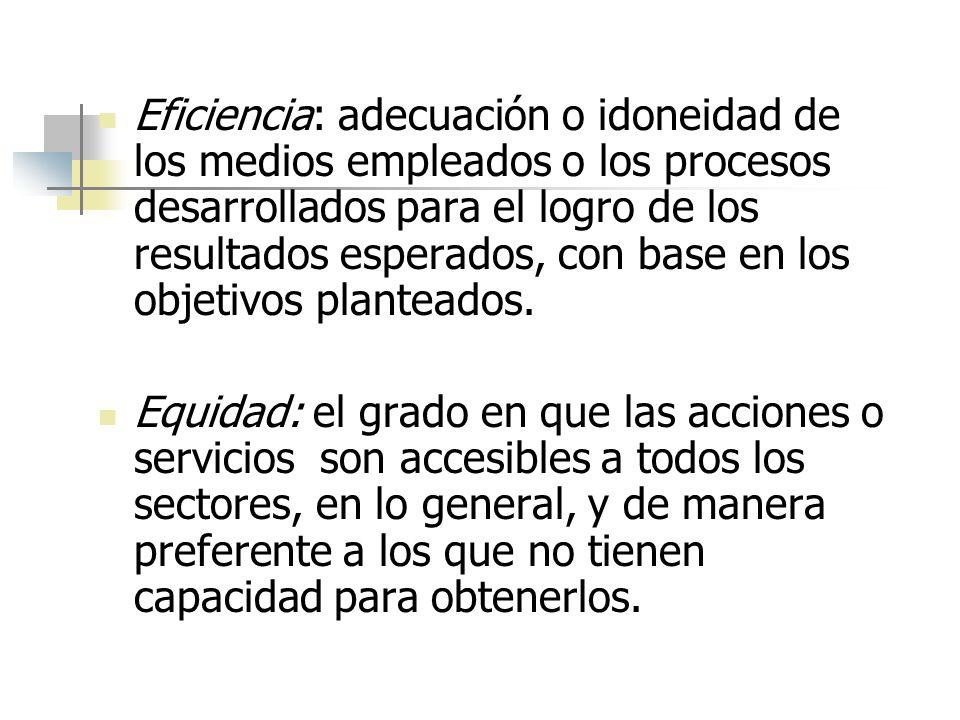 Eficiencia: adecuación o idoneidad de los medios empleados o los procesos desarrollados para el logro de los resultados esperados, con base en los objetivos planteados.