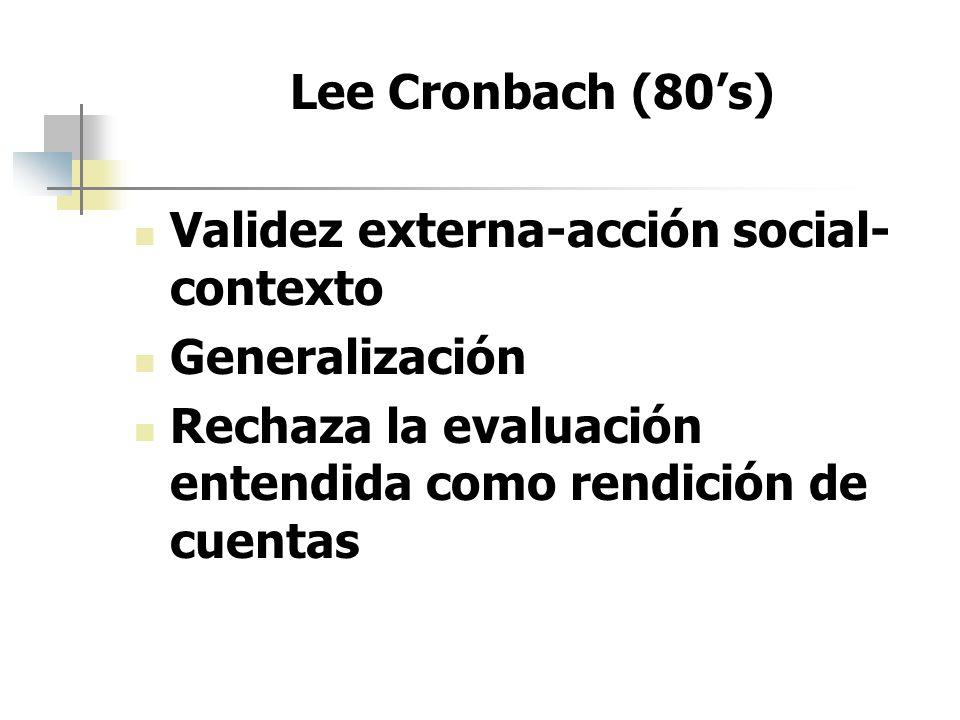 Lee Cronbach (80's) Validez externa-acción social-contexto.