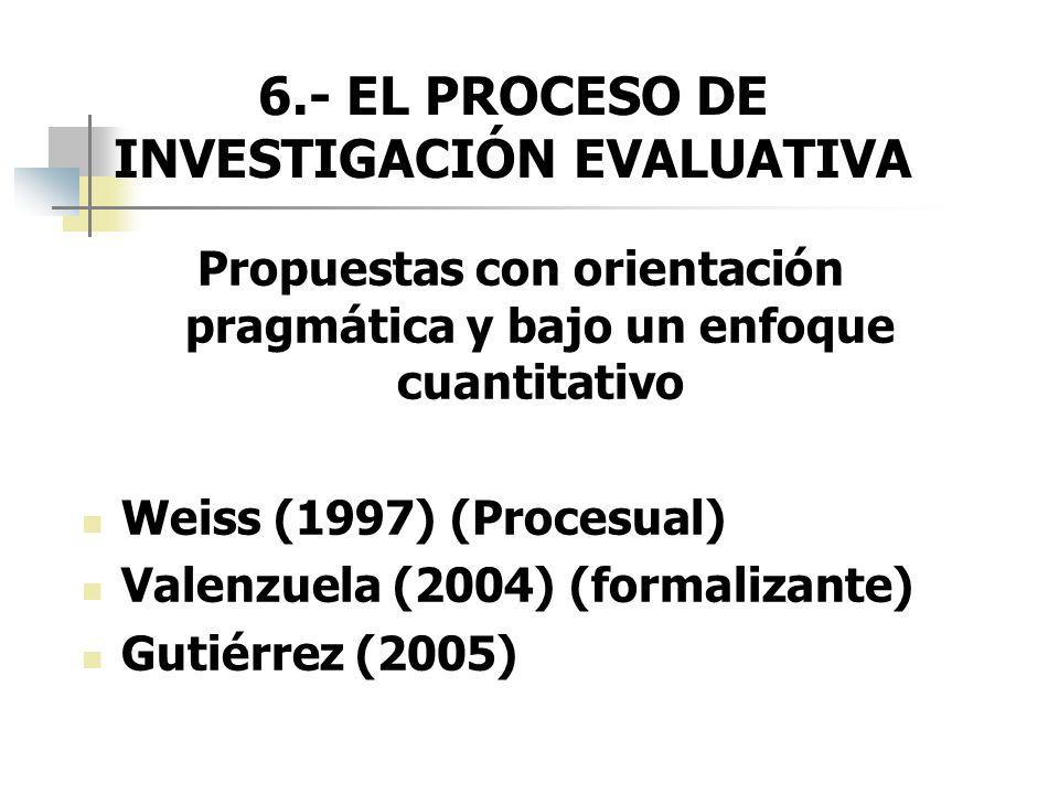 6.- EL PROCESO DE INVESTIGACIÓN EVALUATIVA