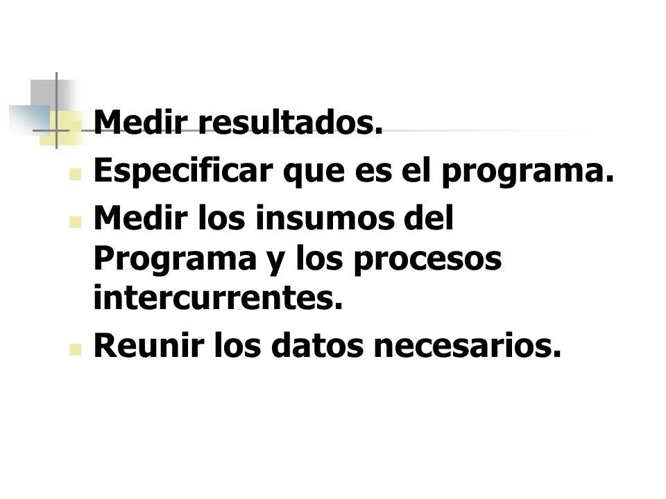 Medir resultados.Especificar que es el programa. Medir los insumos del Programa y los procesos intercurrentes.