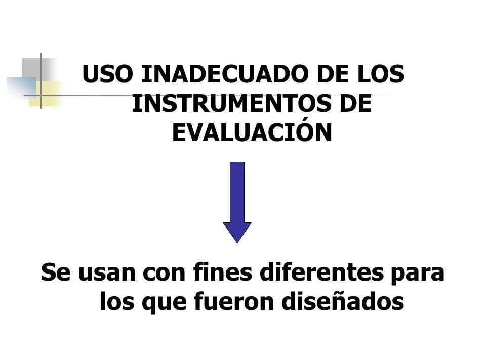 USO INADECUADO DE LOS INSTRUMENTOS DE EVALUACIÓN