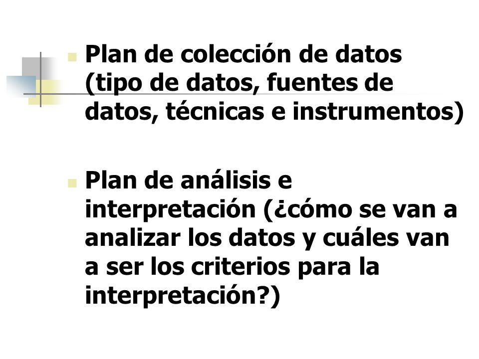Plan de colección de datos (tipo de datos, fuentes de datos, técnicas e instrumentos)