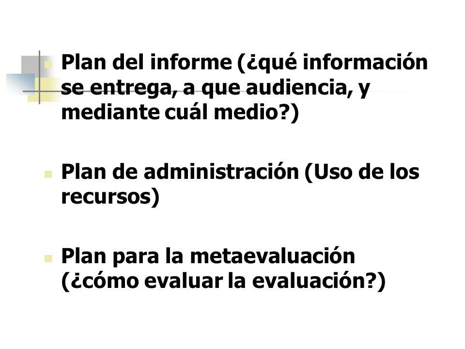 Plan del informe (¿qué información se entrega, a que audiencia, y mediante cuál medio )