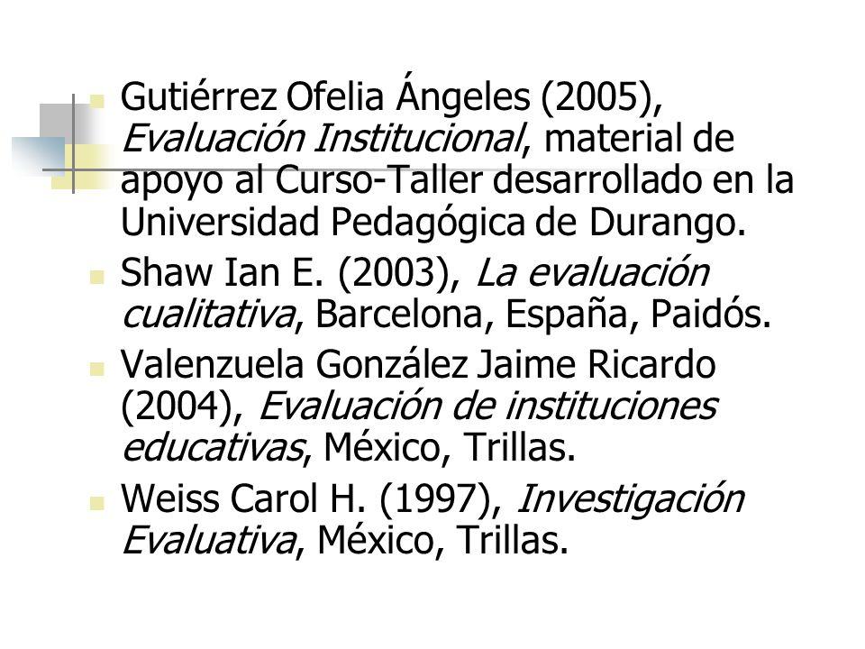 Gutiérrez Ofelia Ángeles (2005), Evaluación Institucional, material de apoyo al Curso-Taller desarrollado en la Universidad Pedagógica de Durango.