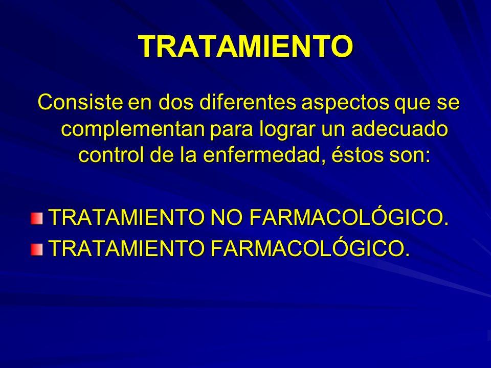 TRATAMIENTO Consiste en dos diferentes aspectos que se complementan para lograr un adecuado control de la enfermedad, éstos son: