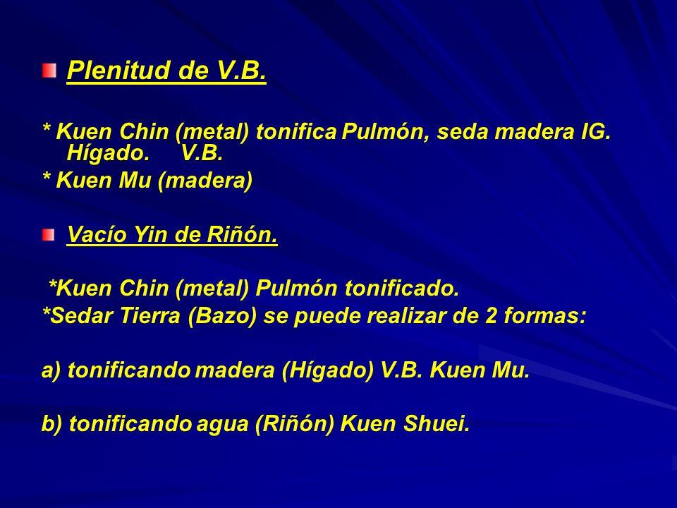 Plenitud de V.B. * Kuen Chin (metal) tonifica Pulmón, seda madera IG. Hígado. V.B. * Kuen Mu (madera)