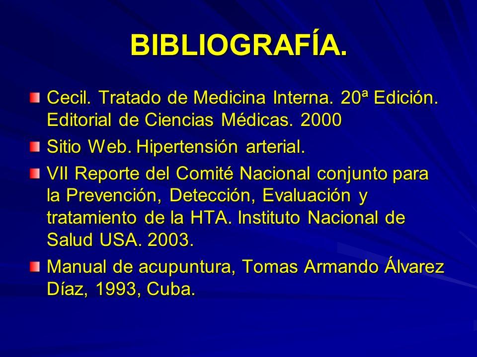 BIBLIOGRAFÍA.Cecil. Tratado de Medicina Interna. 20ª Edición. Editorial de Ciencias Médicas. 2000. Sitio Web. Hipertensión arterial.