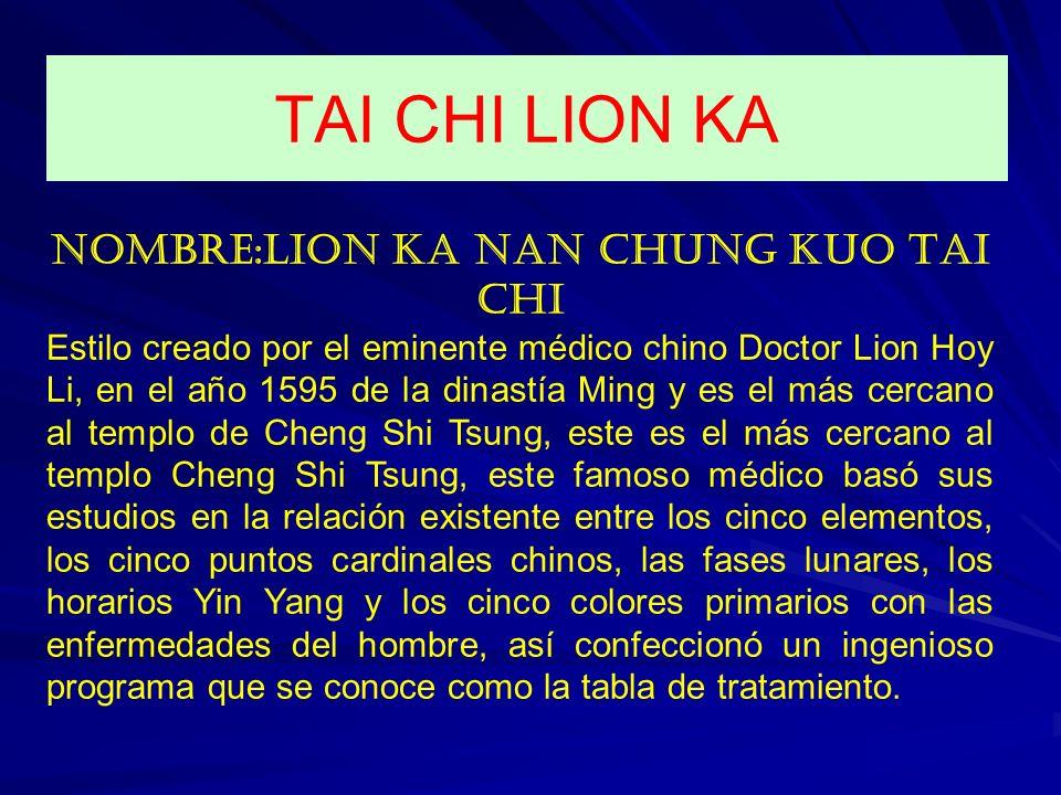 NOMBRE: LION KA NAN CHUNG KUO TAI CHI