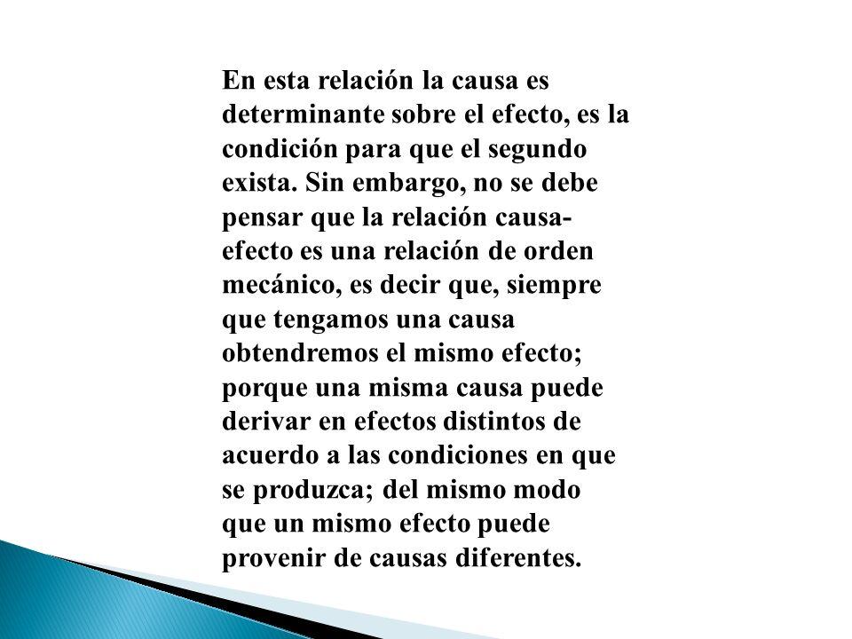 En esta relación la causa es determinante sobre el efecto, es la condición para que el segundo exista.