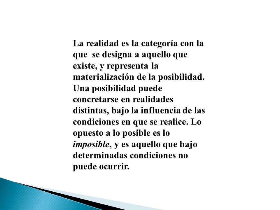 La realidad es la categoría con la que se designa a aquello que existe, y representa la materialización de la posibilidad.