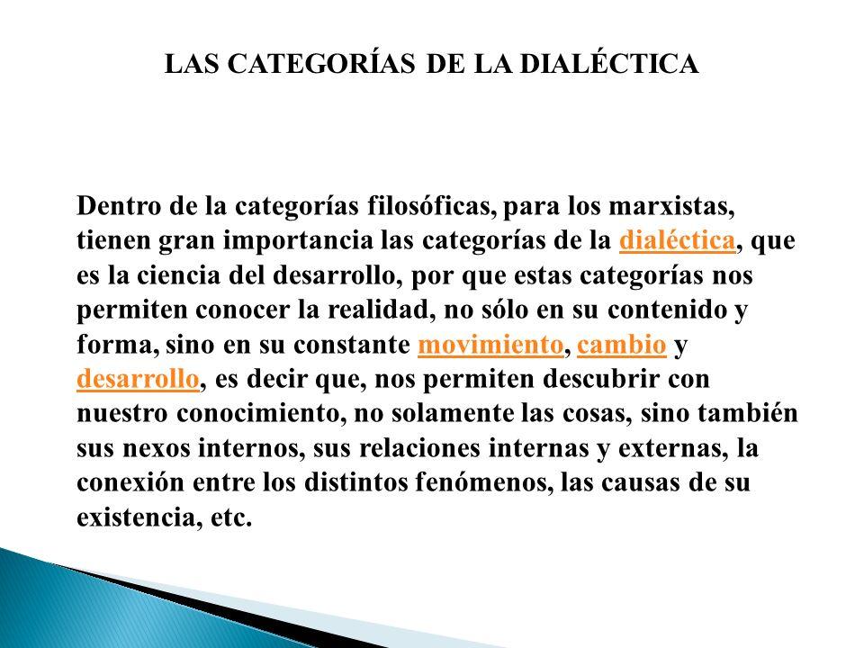 LAS CATEGORÍAS DE LA DIALÉCTICA