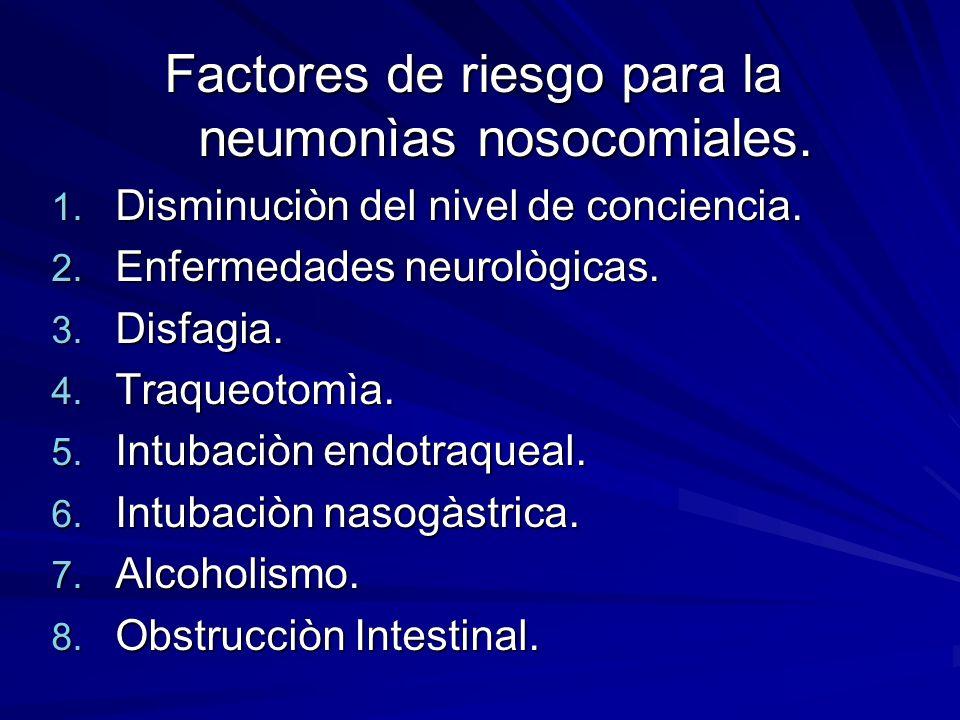 Factores de riesgo para la neumonìas nosocomiales.