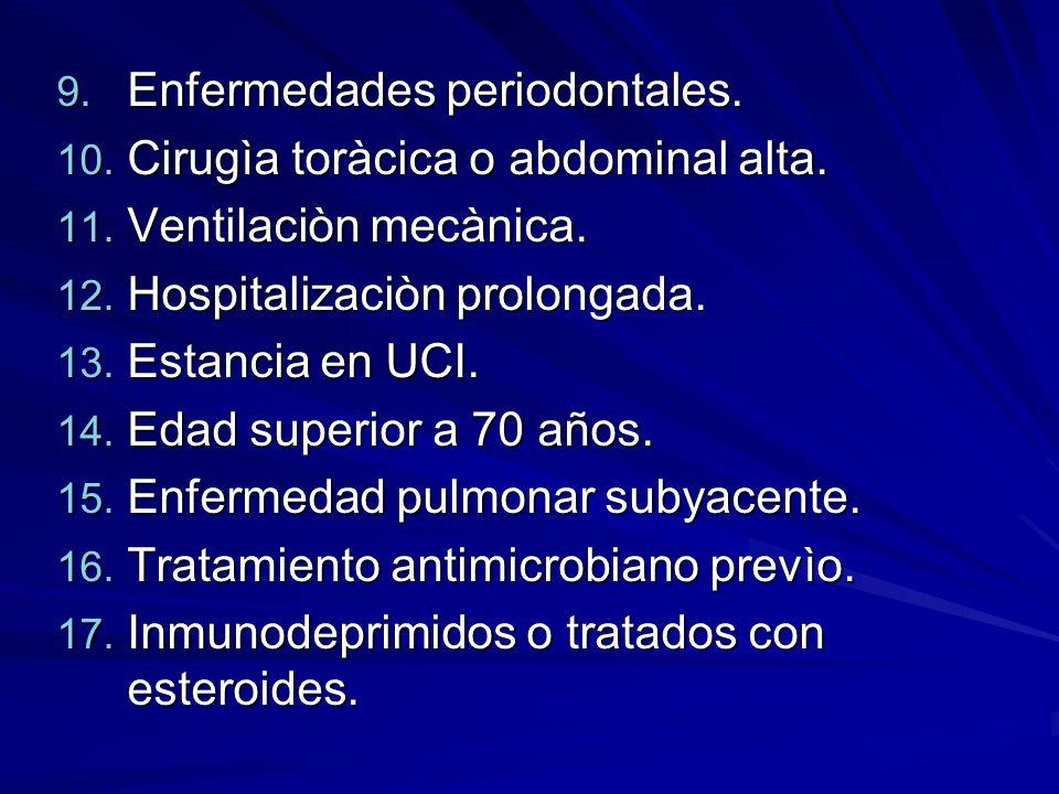 Enfermedades periodontales.