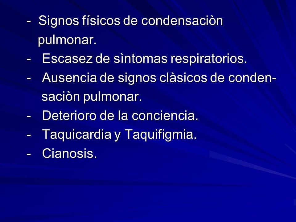 - Signos físicos de condensaciòn