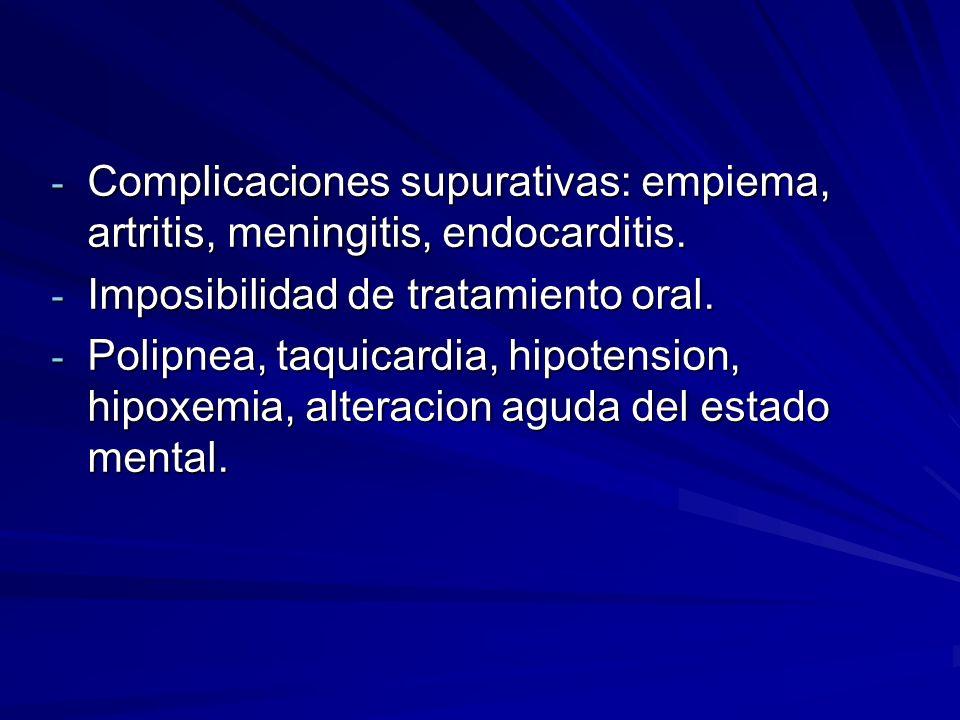 Complicaciones supurativas: empiema, artritis, meningitis, endocarditis.