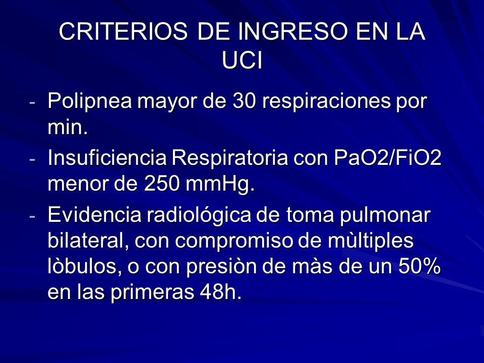 CRITERIOS DE INGRESO EN LA UCI
